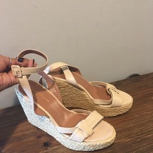 Robert Clergerie Leather Blush Pink Wedge Sandals